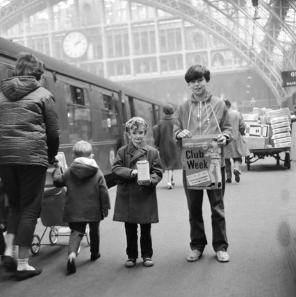 Two pupils fundraising at St Pancras Station; 1964