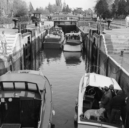Boats in Boulter's Lock, near Maidenhead; 1949