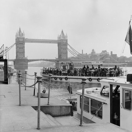 Sightseeing boat approaching Tower Bridge; 1970