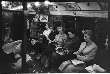 Ladies on the tube; c. 1960.