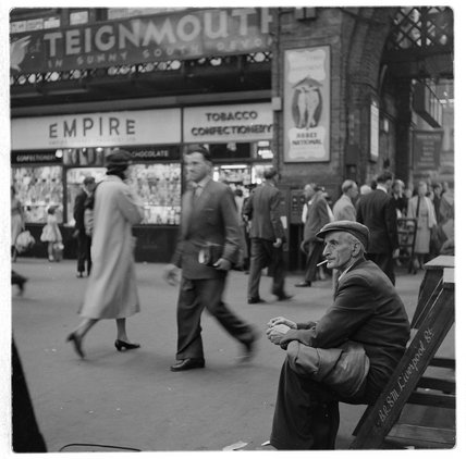 Shoe polisher Liverpool Street Station; c.1960