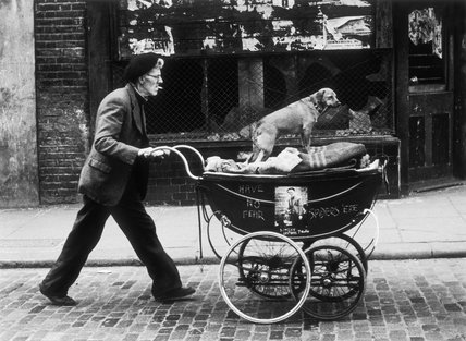 Man pushing a pram containing his wares and a standing dog: 1961