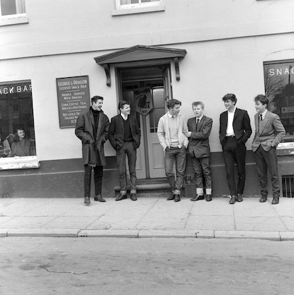 Ton Up boys outside a Cafe; 1963