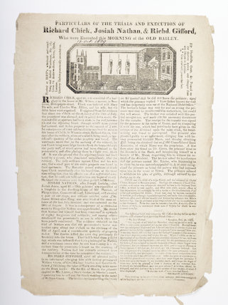 Execution broadside printed with an account of the crimes; 1829