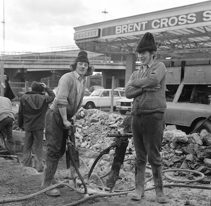 Roadworkers outside Brent Cross Station. c.1970