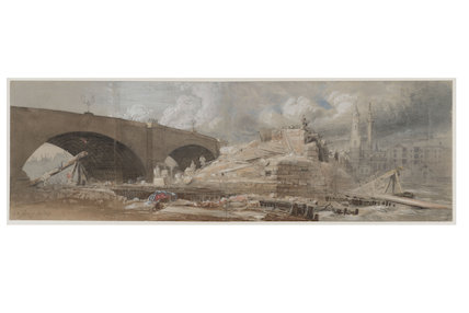 Demolition work at the South end of London Bridge;1832