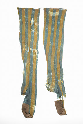Pair of yellow and light blue stockings; 1766-1799