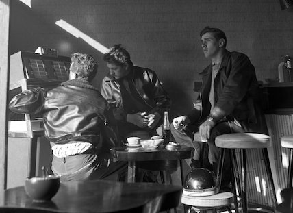 Three young men in a coffee bar. c.1955