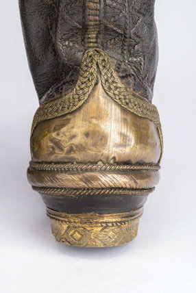 The heal of a pair of black leather boots; 1610-1615