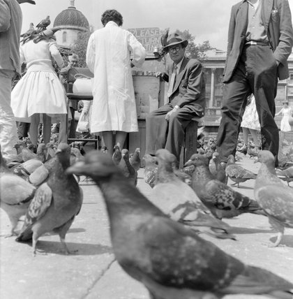 Crowds and pigeons in Trafalgar Square; 1960