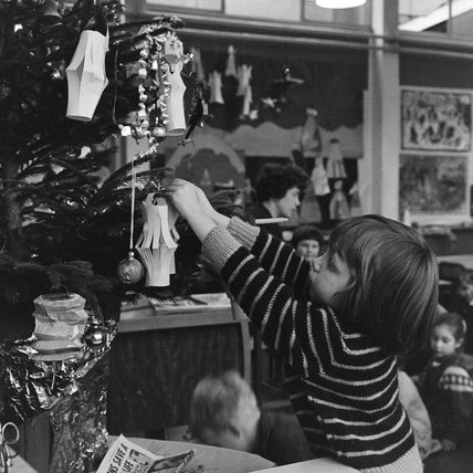 Decorating the classroom Christmas Tree; 1962