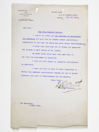 Letter was written to the Secretary of the Reform Club; 1903