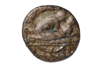 Roman copper alloy token, known as a spintria; 1st century