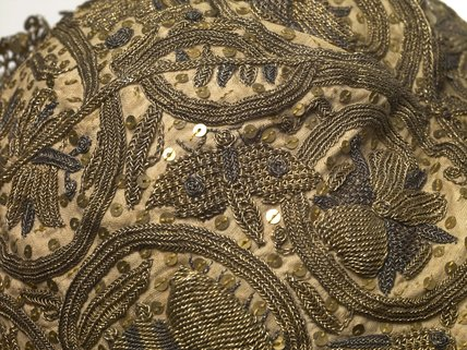A man's embroidered nightcap; 1601-1625