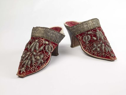 A pair of  Woman's mules; c1660