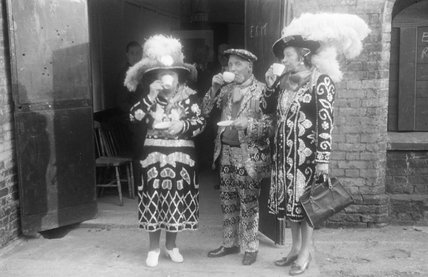 Pearly King and Queens drinking tea; 1951