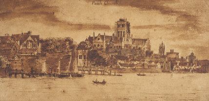 Old St. Paul's from the River; c 1635