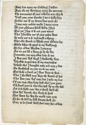Printed page from Chaucer's 'Canterbury Tales': 1476