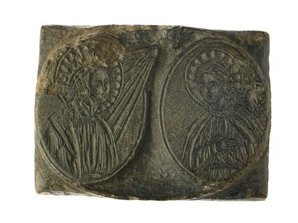 Printing wood block with figures of saints: 16th century