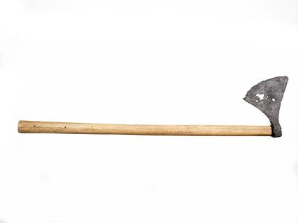 Battleaxe with triangular iron blade: late 10th- mid 11th century