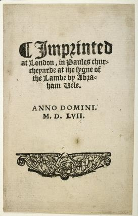 Colophon or printer's trademark: 1557