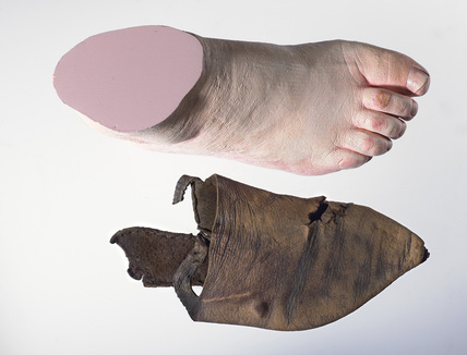 Leather shoe and replica foot: late 14th century