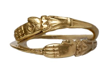 Post-medieval gold gimmel ring with joined hands