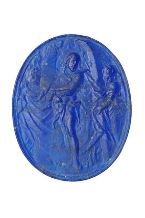 Blue glass cameo: 16th - 17th century