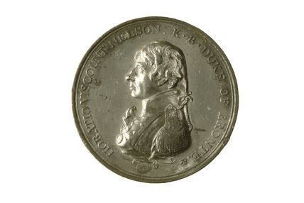 Medal with uniformed bust of Lord Nelson with pigtail: 1805