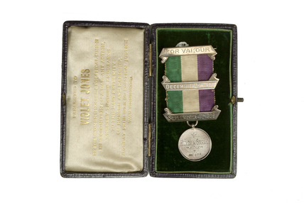 Suffragette Hunger Strike medal in presentation case: 1909