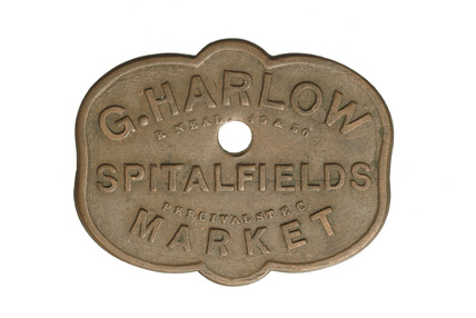 Copper Spitalfields Market token:  20th century