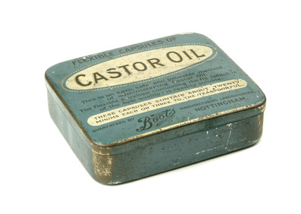 Metal box with Castor Oil capsules