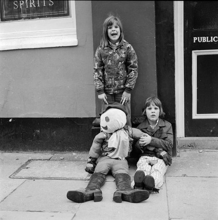 Two children with their 'Guy' effigy: 1969