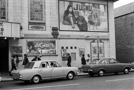 An Indian film advertised outside a Southall cinema: 1973