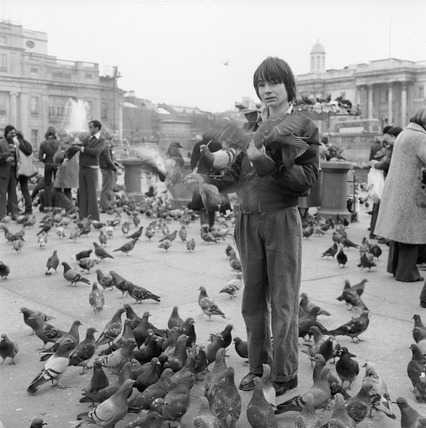 Feeding the pigeons in Trafalgar Square: 1979