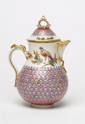 Painted pot and cover with peacock pattern: 18th century