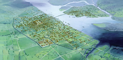 Reconstruction drawing of Roman London c. AD250