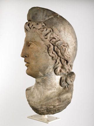 Profile of a Roman marble head of Mithras