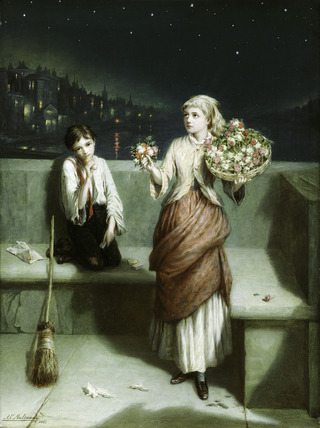 A London Crossing Sweeper and Flower Girl: 1884