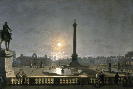Northumberland House & Whitehall from the North Side of Trafalgar Square, by Moonlight: 1861-1867