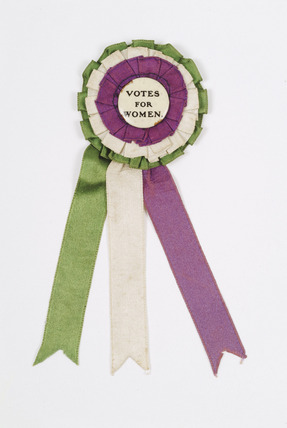 Rosette badge associated with the Suffragette movement: 1905 - 1914