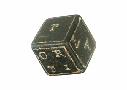 Roman basalt lead and silver letter cube