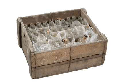 Large crate with 44 glass bottles: 20th century
