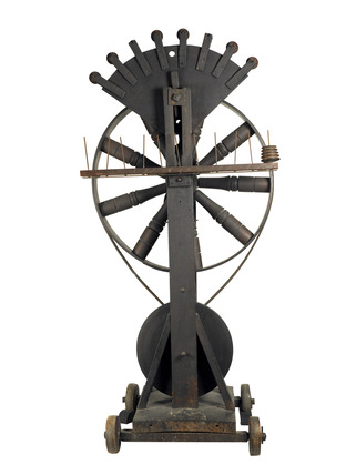 Cord twister's frame with spinning wheel: late 19th century