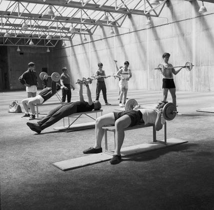 Weights training at the National Recreation Centre: 1964