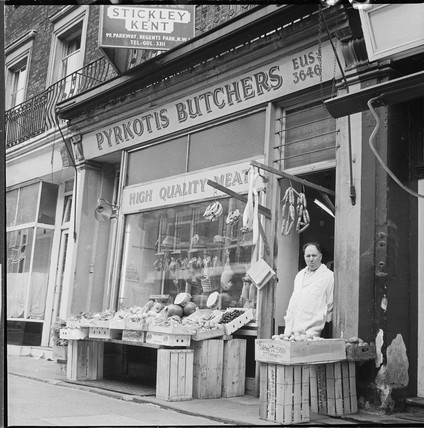 Pyrkotis Cypriot butchers shop, Camden: 1968