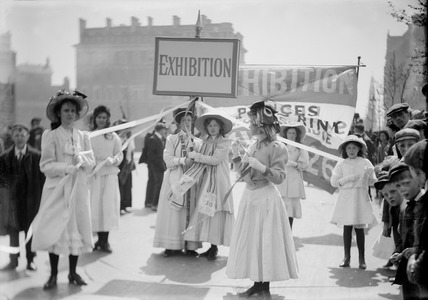 A makeshift maypole at The Women's Exhibition: 1909
