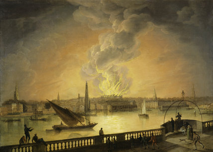 The Burning of Drury Lane Theatre from Westminster Bridge: 19th century