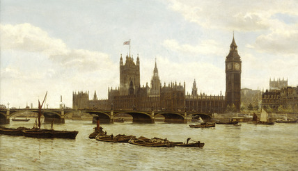 Westminster Bridge and the Houses of Parliament from the River: 1890