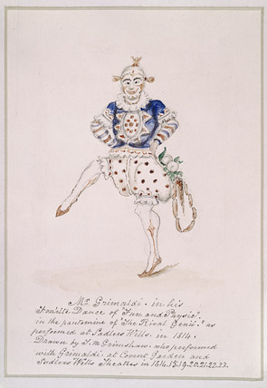 Mr Grimaldi in his Fav'rite dance of Fun and Physic: 1814